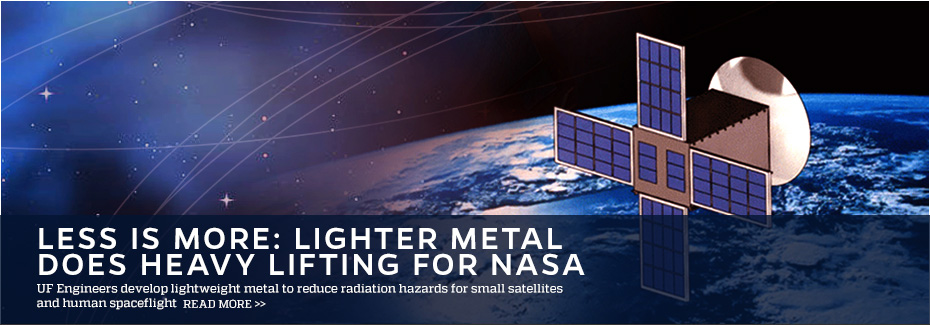 Image features a small satellite flying in front of the earth. On the left are added stars and lines that have a blue tint to them.